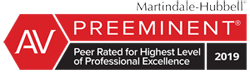 Martindale-Hubbell Preeminent Peer Rated for Highest Level of Professional Exellence 2019